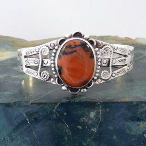 Old Pawn Petrified Wood Agate Bracelet 925 Silver